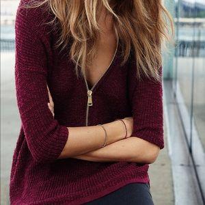 Express London Zip Front Sweater